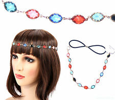 Crystal Headband Rhinestone Gold Elastic Hair Chain Vintage Party Hairband Gift