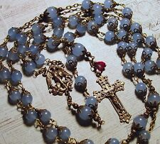 St. Michael The Archangel Blue Aquamarine Gemst Antique Bronze Handmade Rosary
