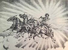 JEANNE MELLIN VINTAGE 1954 PRINT  PALOMINO CHARIOT PEGASUS FLYING HORSES