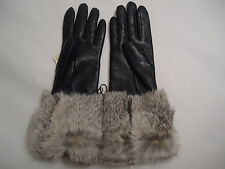 NEW WOMENS AUTHENTIC BURBERRY BLACK LAMBSKIN LEATHER RABBIT FUR GLOVES 7 - Sz 7