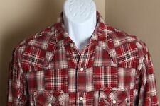 Men's red and tan patchwork Lucky Brand flannel western snap shirt Medium M
