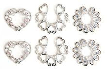6 x Nipple clips shields bars body jewellery blue pink gems no piercings needed