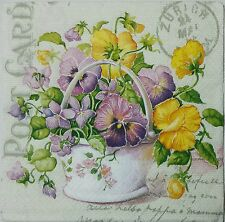 PANSIES POSTCARD TWO(2) single LUNCH size paper napkins for decoupage 3-ply