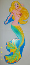 MERMAID PAINTING ON CUTOUT WOOD ARTIST SERIES #001 WITH GLASS EMBELLISHMENTS