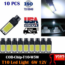 10PCS T10 No Error COB W5W 168 194 LED 6W Car Canbus Hid Kit Side Lamp 6500K