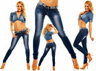Womens Sexy Low Rise Washed Pearls Detailed Slim Skinny Denim Jeans size 12 14