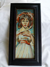 Vintage PMN Paint by NUMBER Framed PINKIE Young Woman Girl w/ Hat French Maiden