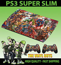 PLAYSTATION PS3 SUPERSLIM MARVEL DC AZIONE SUPEREROI SKIN ADESIVO & 2 PAD Pelle