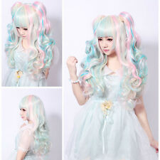 Women's Light Blue Pink Hair Cosplay Party Wigs Lolita Long Curly Wave Full Wig