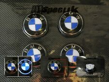 BLUE LED BACK LIGHT LED BMW WHEEL CENTER CAP SET 68mm x 4 WITH DRIVING POWERED