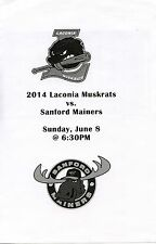 Laconia Muskrats (NH) NECBL baseball program/roster v Sanford Mainers 6/8/14