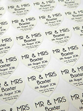 28 Personalised Wedding Mr & Mrs Thank You Heart Favour Stickers Seals - White