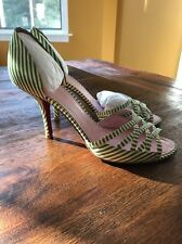 Tommy Hilfiger Catherine Green Striped Shoes Pumps Strappy Spring Easter Size 9