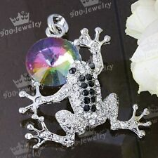 1x Crystal Rainbow Bead Frog Animal Pendant Charms For Necklace Chain Jewelry