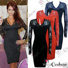 Womens Black Red Ladies Bodycon Midi Lace Pencil Cocktail UK Party Evening Dress