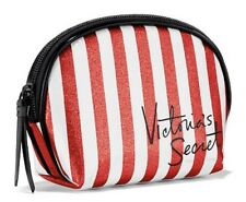 VICTORIA'S SECRET RED STRIPE SPARKLY BEAUTY BAG MAKEUP CASE TRAVEL SMALL POUCH