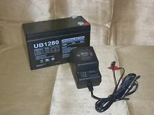 12V 8AH RECHARGEABLE SEALED 12VOLT BATTERY & CHARGER W LED CHARGE STATUS LIGHTS
