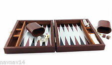 Backgammon Magnetic Set 30 Pieces Game Leatherette Travel Case Maroon Small New