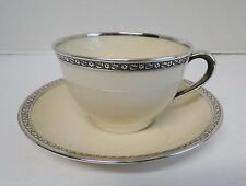 Lenox China STERLING SILVER Overlay Coffee Cup & Saucer c. 1915 Vintage