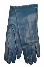 [84 56] COACH NWT WOMEN 83875 MOROCCAN BLUE GENUINE LEATHER CASHMERE GLOVES 6.5