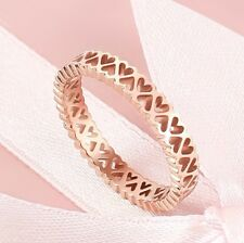 Free shipping Size 8 Womens 9K Rose Gold Filled & Hollow Heart Shape Ring Q537-a