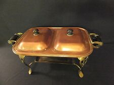Vintage Copper And Brass Aluminum Lined Double Chafing Fondue Dish