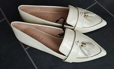 ZARA ECRU LOAFERS FLAT SHOES WITH TASSEL DETAIL SIZE UK 4 &5 EU 37&38