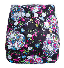 Modern Cloth Reusable Washable Baby Nappy Diaper & Insert, pretty skulls