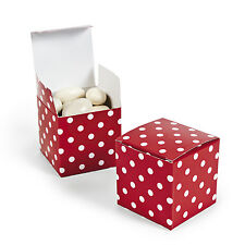 """12 RED & WHITE Polka Dot Treat Boxes 2"""" Buffet Favor Box Wedding Party"""