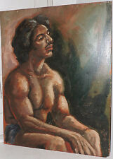 Vintage Muscular Nude MALE Mexican HISPANIC MAN Oil Portrait Painting c1974 ART