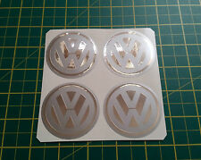 4 x 60mm ALLOY WHEEL STICKERS VW logo Chrome on Silver centre cap badge