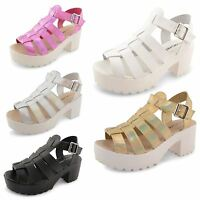 Womens Ladies Strappy Platform Sandals Gladiator Block Heel Cut Out Shoes Size