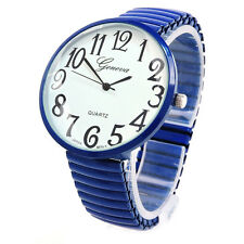 Navy Blue Super Size Case Easy to Read Stretch Band Watch
