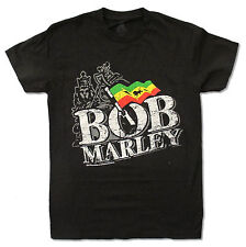 BOB MARLEY - RASTA FLAG W/ LION BLACK T-SHIRT NEW OFFICIAL REGGAE ADULT SMALL S