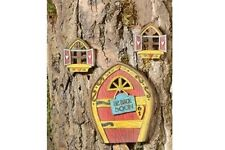 Miniature Dollhouse FAIRY GARDEN ~ Be Back Soon Fairy Door And Windows Set ~ NEW
