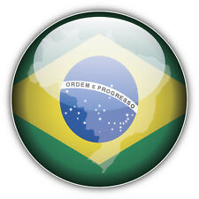 Brazil Glossy Map Flag Car Bumper Sticker Decal 5'' x 5''