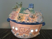 "NOAH'S ARK Ceramic NIGHT LIGHT Pastels 6.5"", Plug in w/ on/off Switch - mint"