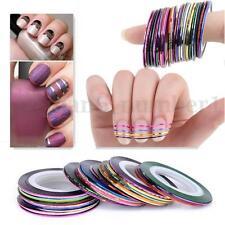 10X Mix Colori Nastro Adesivo Tape Ricostruzione Unghie Nail Art Decorazione