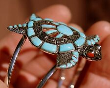Stunning Large Handmade Sterling Silver & Turquoise & Coral SEA TURTLE Bracelet
