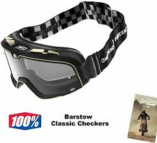 100% Barstow Classic Checkers Goggles Percent Cafe Racer Cruiser Bobber Chopper