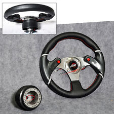 Volkswagen Jetta Golf GTI 320MM Steering Wheel + Hub Adapter Blk Horn JDM 6-Hole