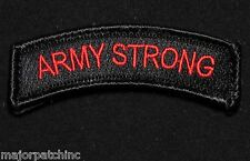 ARMY STRONG ROCKER TAB USA TACTICAL MILITARY MORALE BLACK OPS RED VELCRO PATCH