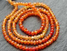 """HAND FACETED SHADED CARNELIAN RONDELLES, approx 3mm, 14"""", 160 beads"""