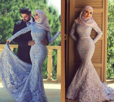 2015 High Neck Long Sleeves Muslim Lace Wedding Dresses Mermaid Evening Gowns