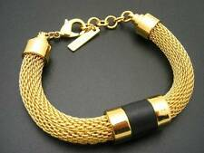 $68 Vince Camuto *Tour Of Duty* Goldtone Mesh Chain Black Leather Bracelet