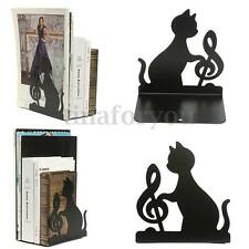 Black Metal Shelf Musical Note Cute Cat Anti-skid Bookends Book Case Holder