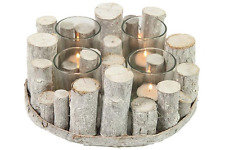 Large White Rustic Wooden Twig Glass Tea Light Candle Holder Wedding Decoration