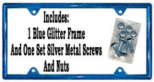 One Blue Glitter Plastic License Plate Frame Bling Sparkle Screws Gifts Girls