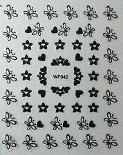 Accessoire ongles : nail art - Stickers autocollants, papillons et coeurs noirs
