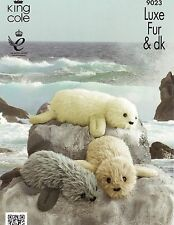 King Cole Toy Knitting Pattern 9023 REAL SEAL IN 2 SIZES IN LUXE FUR & DK